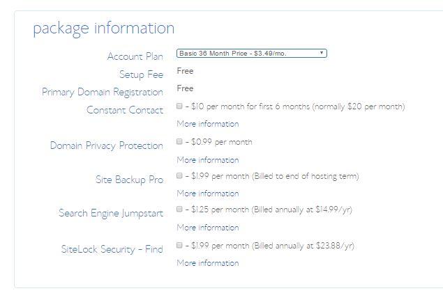bluehost-package-info