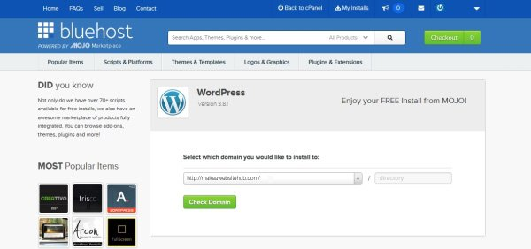 wordpress-install-select-domain