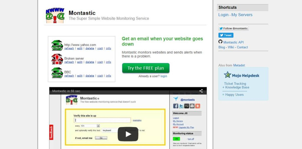montastic website monitoring