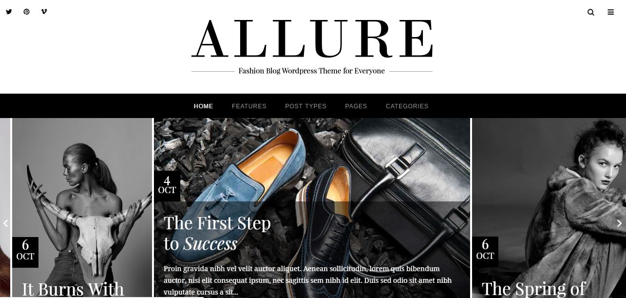 """8a5a9009a4 With the tagline of """"start blogging in style,"""" the Allure WordPress theme  features everything you need to create one stylish WordPress site."""