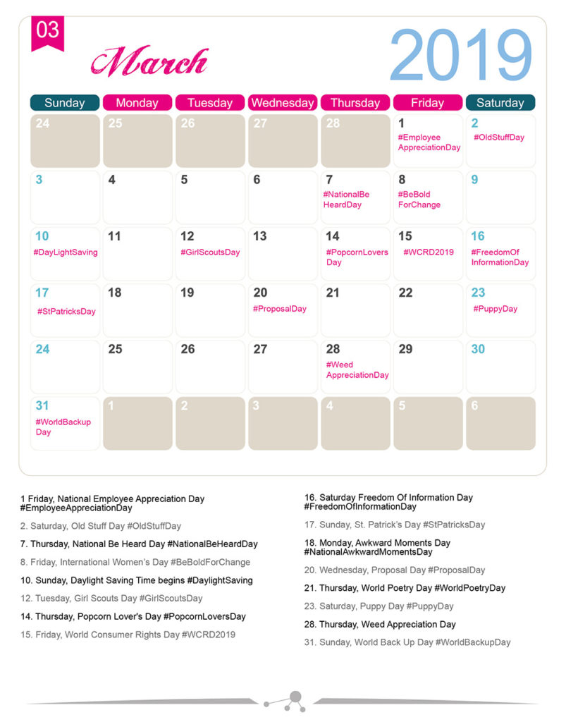 Appreciation Day Calendar 2019 The 2019 Social Media Holiday Calendar   Make A Website Hub