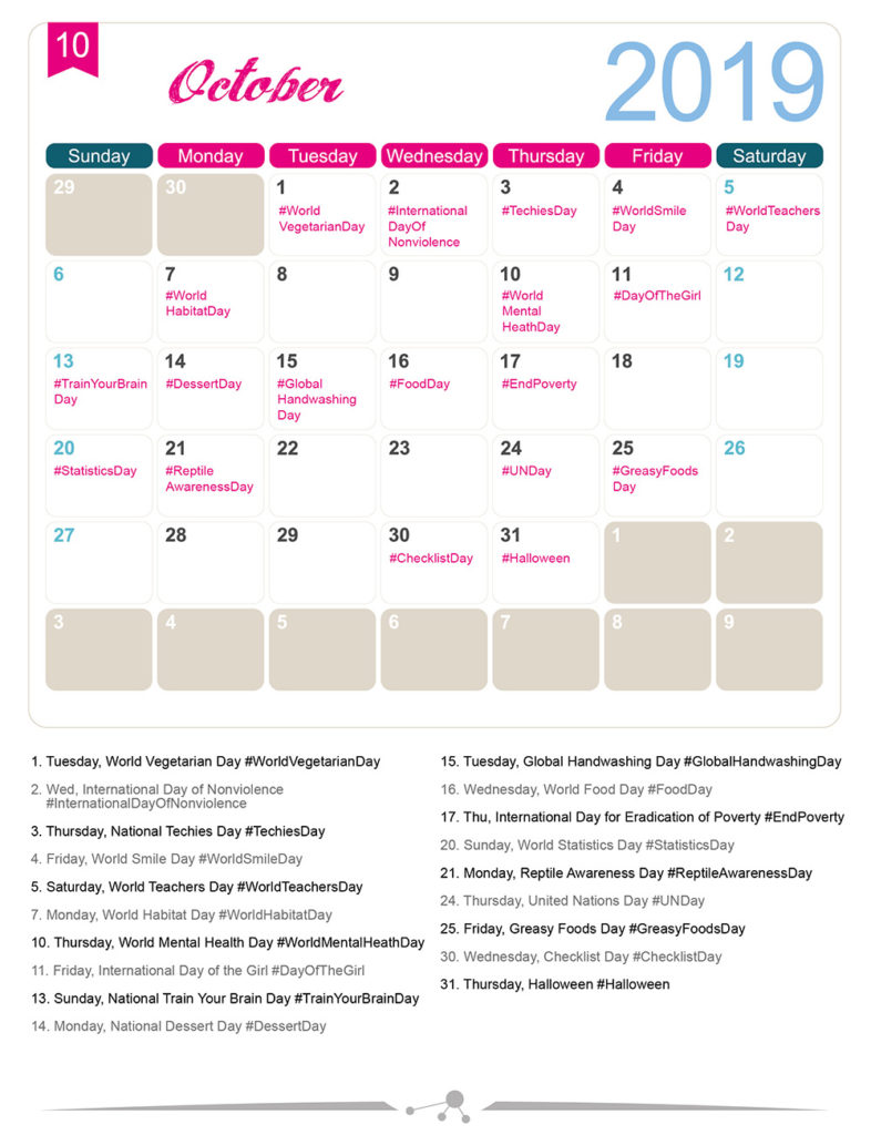 Special Calendar Days 2019 The 2019 Social Media Holiday Calendar   Make A Website Hub