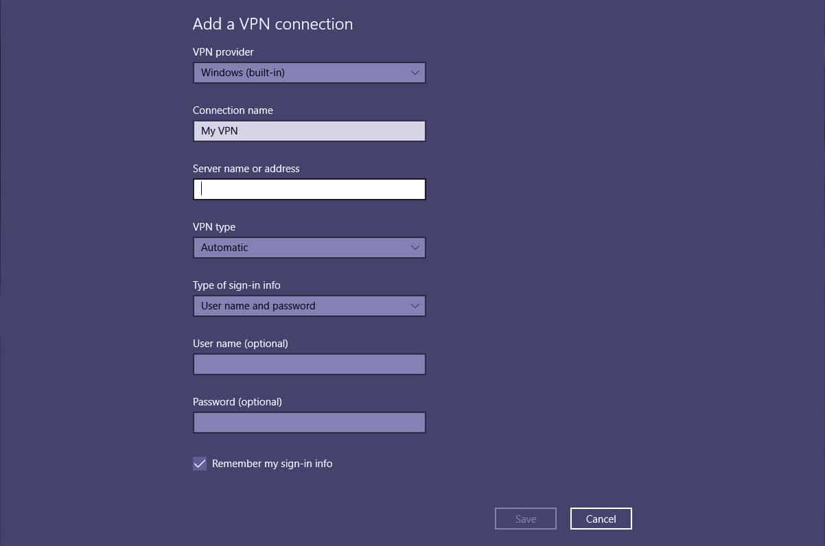 windows setup vpn